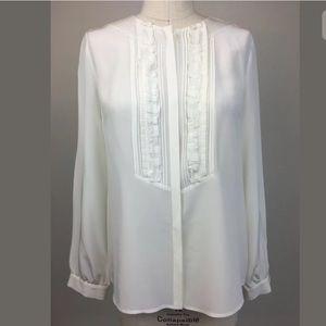 CLASSIQUES ENTIER White Ruffle Button Down Silk L